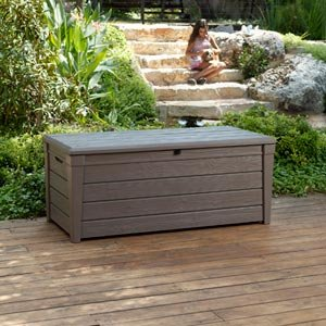 Keter Brightwood Deck Box 120 Gallon Capacity, Durable Uv Protected Resin Construction, Textured Wood Lookq by Keter