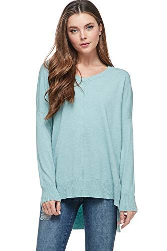 Alexander + David Womens Casual Oversized Crewneck Pullover Sweater w/hi-Low (Heather Mint, Medium/Large)