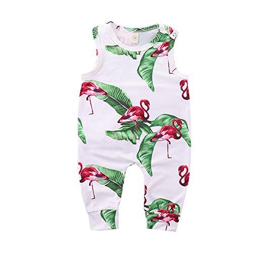 Mikrdoo 3pcs Baby Clothes Set Fresh Leaf and Stylish Flamingo Print Long Sleeve Romper Tops + Pants + Hat Baby Outfits (18-24 Months, (Leaf Print Pant Set)
