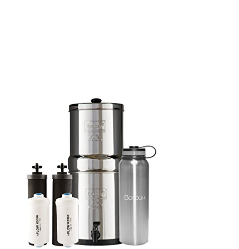 1.5 Water Filter System - Boroux Bundle Travel Berkey Water Filter System includes Black Filters and Fluoride Filters (1.5 Gallon) bundled with 40 oz Stainless Steel Double Wall Bottle