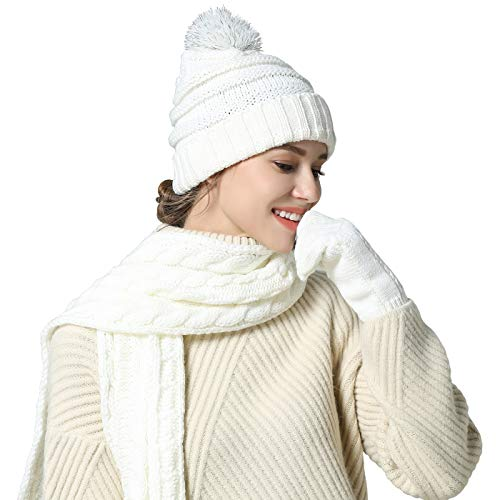 Piece 3 Set Mitten (Knit Hat/Scarf/Glove Set, Fashion Soft Warm Thick Cable Knitted Knitting Hat Cap Beanie Mitten Touch Screen Gloves and Scarf, Winter Cold Weather Accessory Set Gift Set (White))