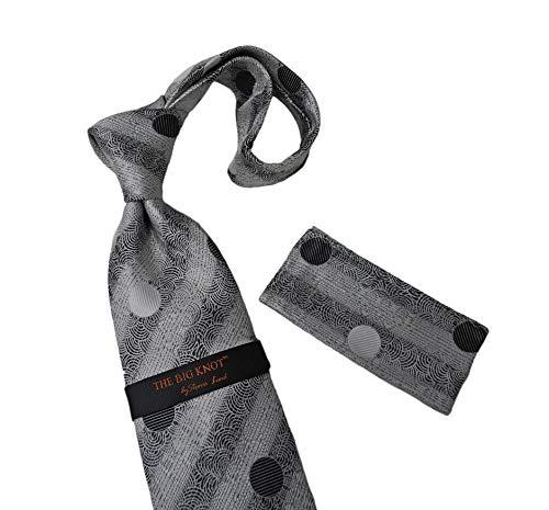 (Steven Land (BW1818 - White/Black) 100% Silk tie & Hanky, The Big Knot)