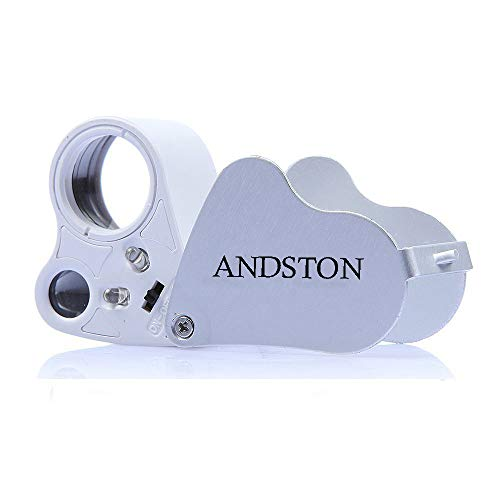 ANDSTON 30X 60X LED Lighted Illuminated Jewelers Eye Loupe Jewelry Magnifier for Gems Jewelry Rocks Stamps Coins Watches Hobbies Antiques Models Photos