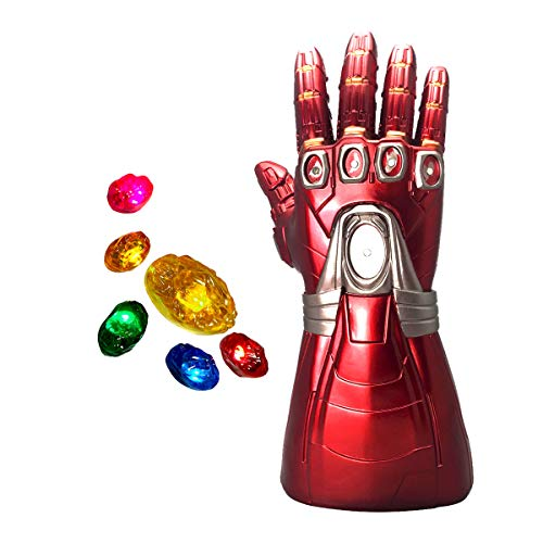 XXF-Iron Man Infinity Gauntlet,Iron Man Infinity Glove LED with Removable Magnet Infinity Stones-3 Flash