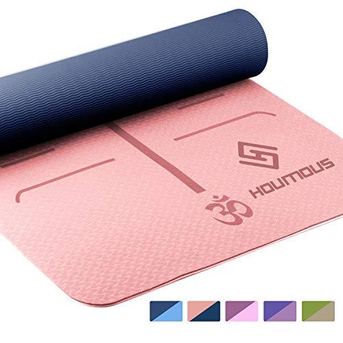 Houmous Yoga Mat TPE Eco Friendly Exercise & Workout 1/4″ Dual Color (72″x 24″)