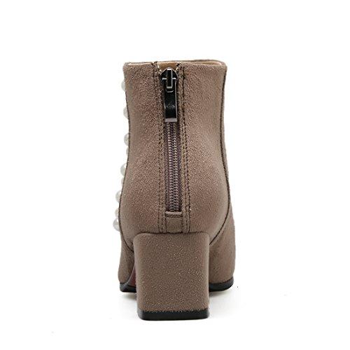 YE Damen Chunky Heels Ankle Boots Stiefeletten mit Reißverschluss und Perlen 5cm Bequem Elegant Schuhe Brown