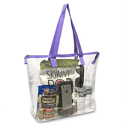 (MADISON & DAKOTA Clear Tote Bag Shoulder Handbag, Stadium Approved, Perfect for Security & Everyday Use (Purple))