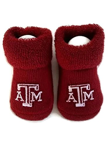 Texas A & M Baby Booties Aggie Maroon Infant Socks NCAA Officially Licensed Team Logo ()
