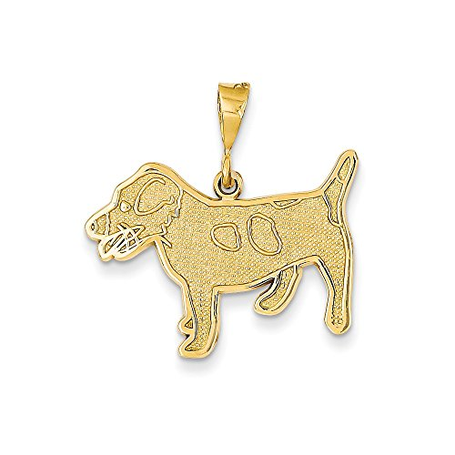 14K Yellow Gold Jack Russell Terrier Dog Charm -