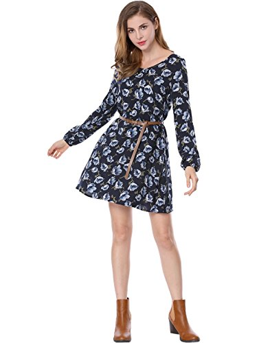 Allegra K Women's Floral Print Cut Out Back Oversize Shift Dress w Belt M Blue Floral Print Cut Out