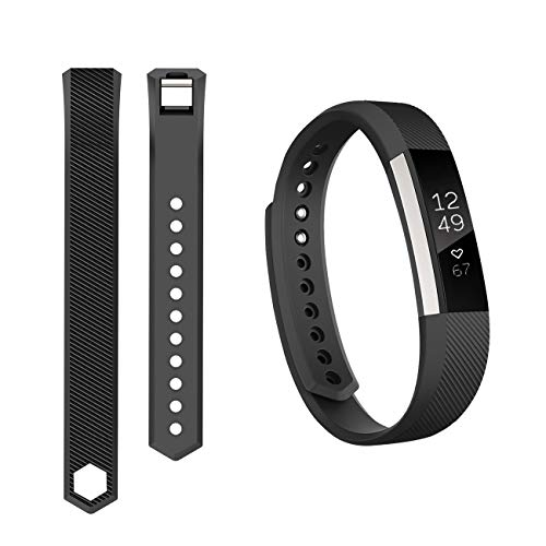 (Keasy Replacement Bands Compatible for Fitbit Alta and Fitbit Alta HR, Sport Bands with Secure Metal Buckle(Black-1,Small(5.5