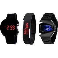 BID Combo of 3 Digital Black Dial Kids Watch