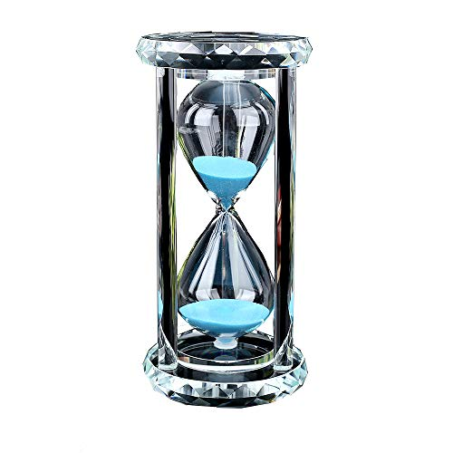 Siveit Crystal Hourglass Sand Timer with Gift Box, 30 min - Blue