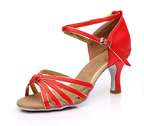 ShangYi Latin dance shoes women's soft bottom dance shoes, dance shoes, women's Latin shoes, high heel, dance shoes, with height 5cm Red gold