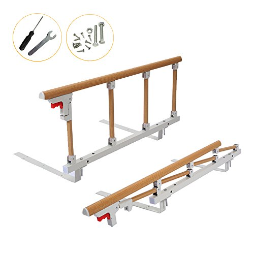 Bed Rail Safety Guard for Elderly, Adults, Toddler & Kids Assist Handle Bed Railing Folding Hospital Metal Bumper Bar (1 Pcs, Wooden Grain) by MYBOW (Image #1)