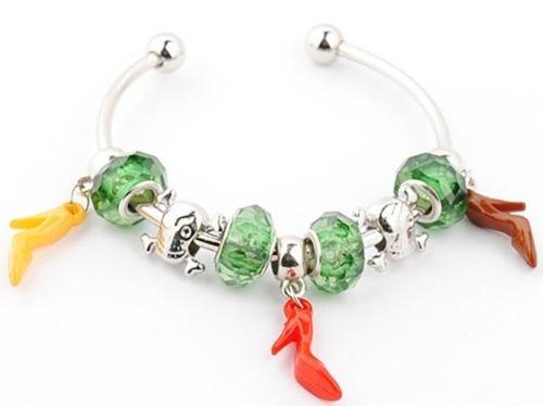 Chic High Heels crystal silver European beaded charms designed bangle bracelet (European Heel)