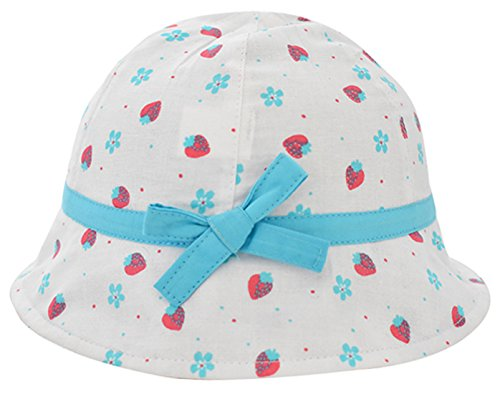 (Happy Cherry Little Kids Bucket Hats Toddlers Classic Breathable Sun Protection Hat With Strawberry Print Trimmed For 3-6 M White)