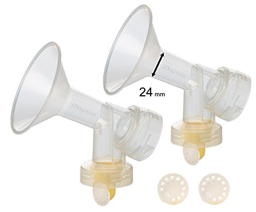 2x One-piece Breastshields, Valves, Membranes to Replace Medela Pump Parts, Incl. Pump in Style, Lactina, Symphony, Swing; 24 mm Standard breastshields; Made by (24 Mm Breastshields)