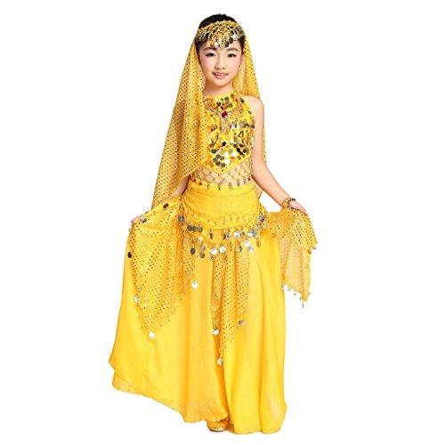 Pilot-trade Children Belly Dance Costume , Highlights Skirt , Hip Scarf , Veil Sets ( Yellow , L) - Halloween Costumes For Pregnant Girls