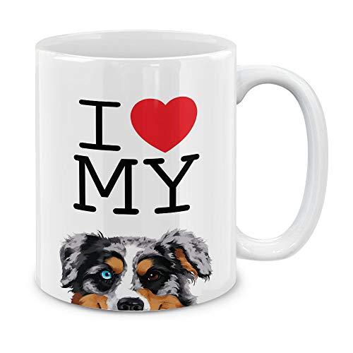 Australian Shepherd Mug Dog - MUGBREW I Love My Merle Aussie Australian Shepherd Dog Ceramic Coffee Gift Mug Tea Cup, 11 OZ