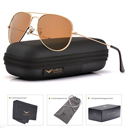 LUENX Womens Mens Aviator Sunglasses Polarized Brown Amber Lenses Gold Metal Frame UV400 Protection Classic Style by LUENX