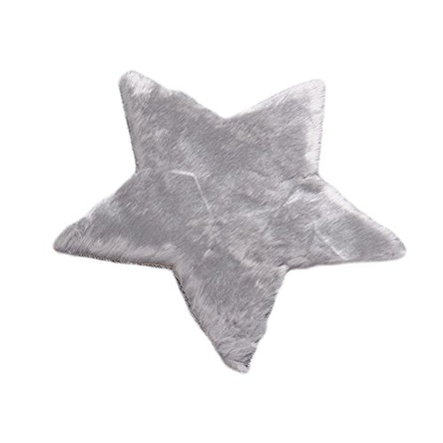 WINOMO Soft Star Shaped Plush Cushion Carpet Rug Ground Mat Tea Table Mats for Decoration (Grey) ()