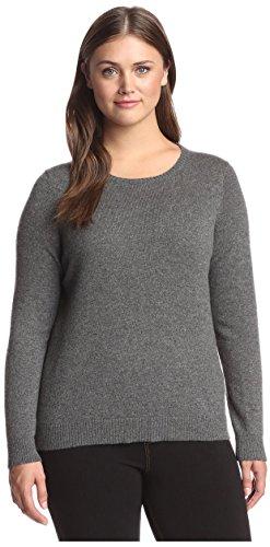 Cashmere Addiction Women's Cashmere Crewneck Sweater, Heather Grey, (Heather Cashmere Crewneck Sweater)