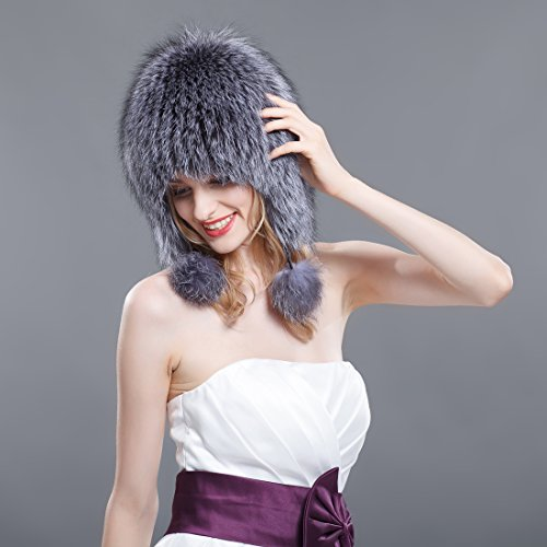 Ursfur Mujer Natural De Fox Silver Para Aviador Gorro Color IwrSgqI