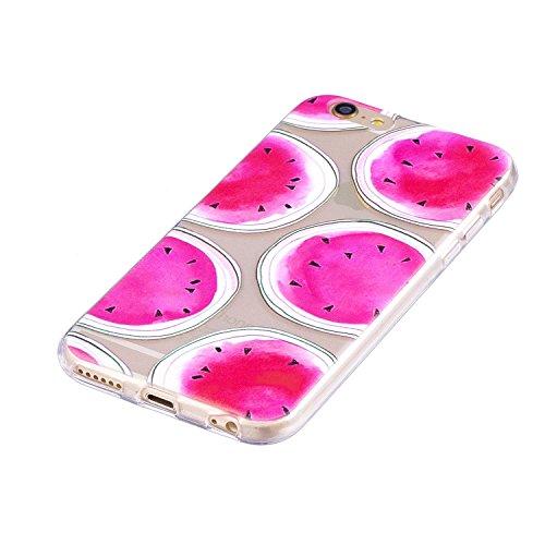 iPhone 6 Plus / 6S Plus Coque Pastèque rose Premium Gel TPU Souple Silicone Transparent Clair Bumper Protection Housse Arrière Étui Pour Apple iPhone 6 Plus / 6S Plus + Deux cadeau