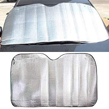 Uniqus Silver Aluminum Foil Sun Shade Car Windshield Visor Cover Block Front Window Sunshade UV Predect, Size  220  80cm