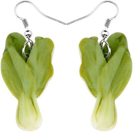 Pendientes De Clip Aros Pendientes De Acrílico De Verduras Verdes Frescas Gran Caída Larga Cuelga Moda Cultivos Agrícolas Alimentos Joyería