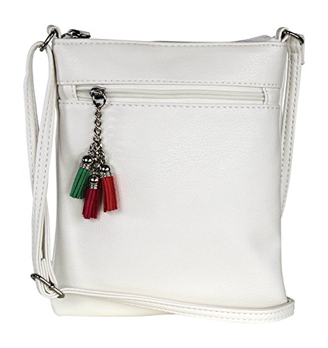 White Casual Small Faux Leather Crossbody Bag – Travel Festival Purse Handbag