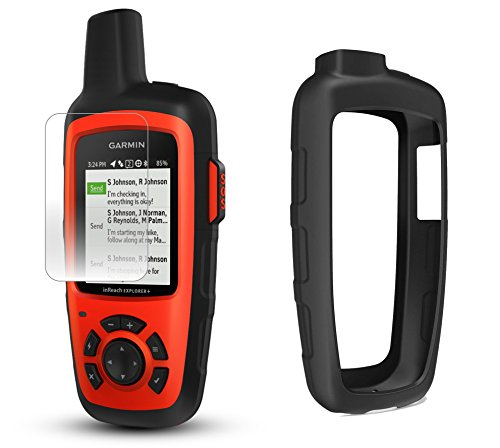 Garmin inReach Explorer+ Hiking Armor GPS Bundle | with PlayBetter Protective Silicone Case & Screen Protectors (3-Pack) | Belt Clip, Carabiner Clip | GEOS, Weather, Messaging