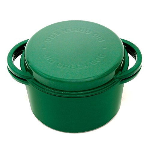Dutch Oven - Cast Iron Enameled Dutch Oven By Big Green Egg - 4.2 Quart Authentic Big Green Egg Accessory - Lid Doubles As A Shallow Baking Dish by Big Green Egg