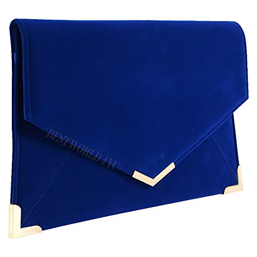 Royal Purse Pu Bag Blue Envelope Wocharm Leather Shoulder Ladies Hand Handbag Clutch Chain Tote 7fwnYAT