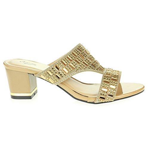 Talón Bloquear Beige Casual Boda Sandalia Tamaño Ponerse Diamante Mujer Fiesta Nocturna Zapatos Señoras El nCzxwFgq0a