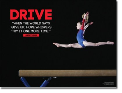 Female Gymnastics Poster. Gymnast Inspiration & Motivation for Girl. Laminated. Features the quote, When the world says 'give up, ' hope whispers 'try it one more time.'