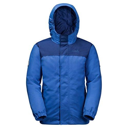 Jack Wolfskin Boys Kajak Falls Jacket, Coastal Blue, Size 128 (7-8 (Gore Waterproof Oxfords)