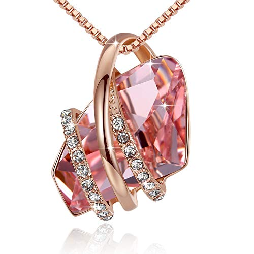 Leafael Wish Stone Pendant Necklace Made Swarovski Crystals (Vintage Morganite Pink Rose Gold Plated) Gifts Women October Birthstone Jewelry