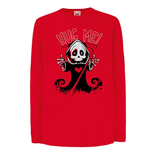 T-Shirt for Kids The Death is Coming! Halloween Skeleton Clothes, Evil Skull Sickle (12-13 Years Red Multi Color)