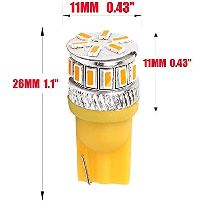 Alopee 4-Pack T10 194 168 2825 Extremely Bright 240Lums Amber/Yellow 5th Generation Non-Polarity LED Light 12V-24V - 18SMD 3014 Car Replacement for Map Dome License Plate Dashboard Side Marker Light: Automotive