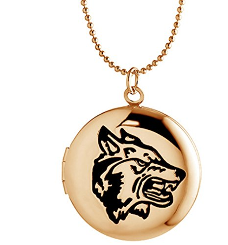 Round Locket Necklace Charm Pendant Engraved Wolf Birthday Boy Dad Mom Picture Photo Gold tone