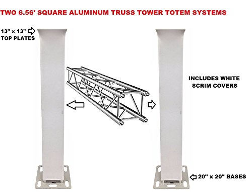Two (2) Pair of Totem 2m 6.56ft Aluminum Square Truss Tower Base Scrim Included Vertical System ()
