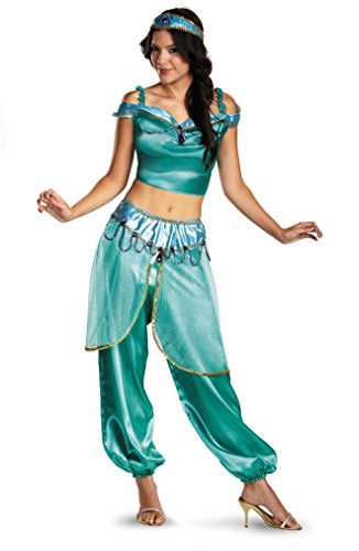 Disguise Women's Disney Aladdin Jasmine Deluxe Costume, Green, Medium (Jasmine In Aladdin Costumes)