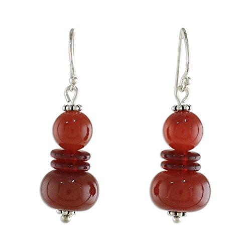 NOVICA Carnelian .925 Sterling Silver Beaded Earrings 'Fiery Memory'