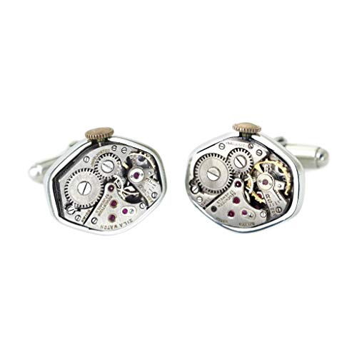 Silver Movement Cufflinks Watch - Tokens & Icons Mechanical Watch Movement Silver Settings Cufflinks (55WC)