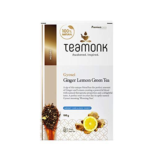 Teamonk Gyosei High Mountain Ginger Lemon Green Tea Loose Leaf (50 Cups) | 100% Natural Ginger Lemon Tea