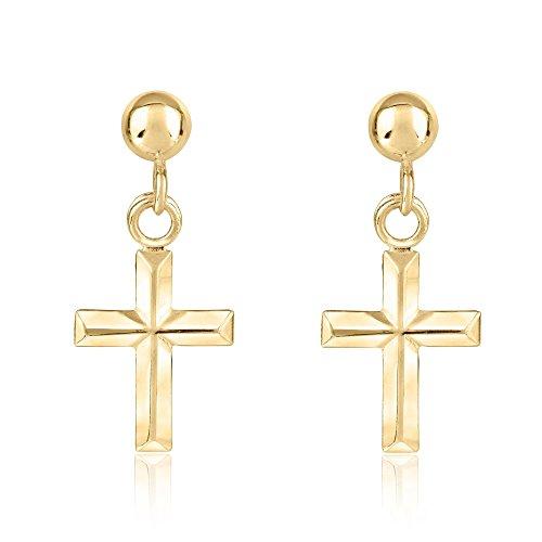 Yellow Gold Cross Earrings