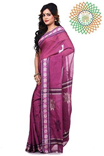 Bengal Handloom Saree Women's Pure Cotton Tangail Free Size Maroon by Bengal Handloom Saree (Image #1)