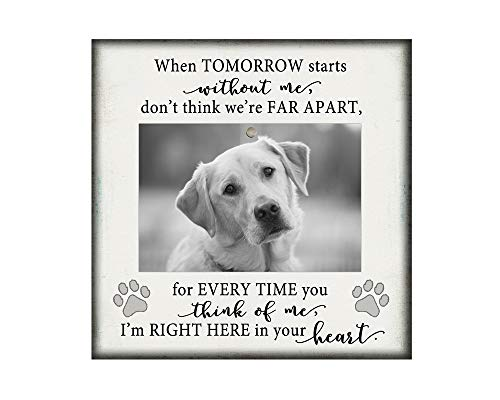 Dog picture frame memorial pet gift, 8.5x8.5 inches, holds 4x6 photo, loss, sympathy, White50